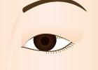 まぶたが垂れて、目が小さく見える状態。